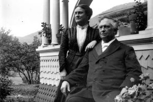 Charles Wesley and Susie Emerson outside the homestead in Rochester, Vermont.